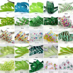 25x1Yard-Assorted-Satin-Grosgrain-Ribbon-Lot-3-8-034-1-5-034-Green-Theme-Craft-Bow-B