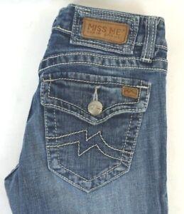 Miss-Me-Women-039-s-Medium-Wash-Boot-Cut-Denim-Jeans-w-Flap-Pockets-26-x-33
