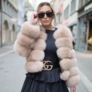 Top-Women-039-s-Natural-Whole-Skin-Real-Fox-Fur-Coat-Jacket-Thick-Overcoat-Outerwear