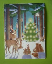 Vtg Reader's Digest Christmas Card-Christmas Tree in Forest For Woodland Animals