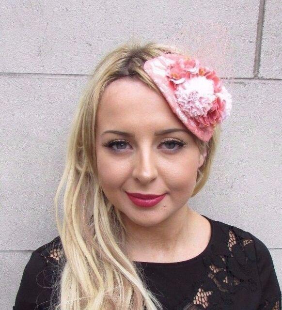 6092025d66ded Peach Blush Pink Rose Net Flower Fascinator Teardrop Races Wedding Hat Vtg  3367 for sale online