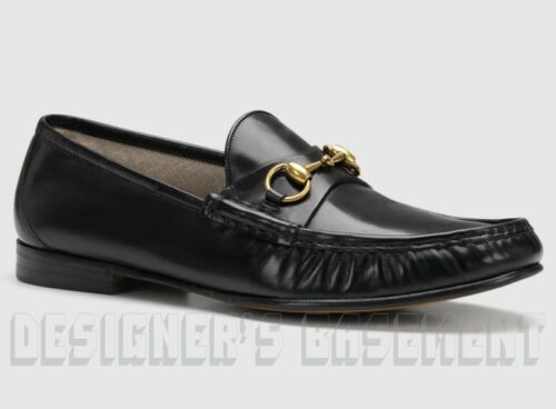 Gucci Men 8 Black Leather 1953 Roos Gold Horsebit Loafers Shoes Nib Authent $690 by Gucci
