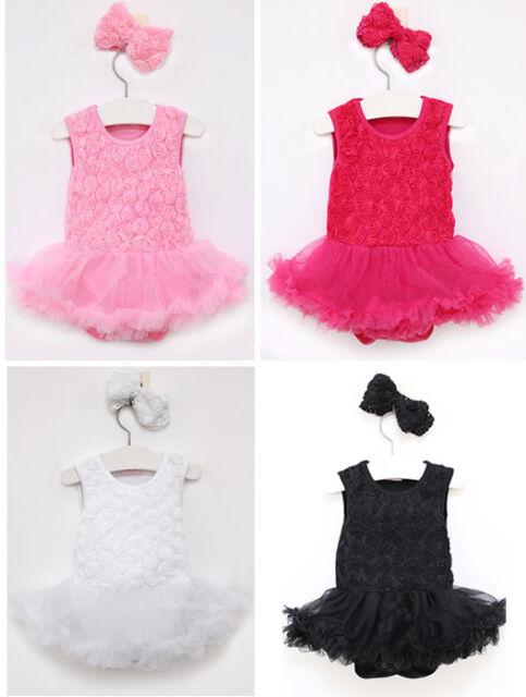 Newborn Baby Girls Kids Flower Headband+Bodysuit Romper Tutu Skirt Clothes Set