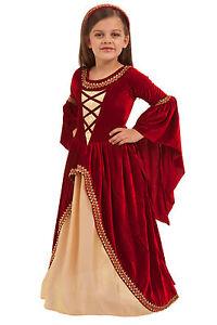 Image is loading Crimson-Renaissance-Princess-Costume-Dress-Kids-Girls-XS-  sc 1 st  eBay & Crimson Renaissance Princess Costume Dress Kids Girls XS-XL 3 4 5 6 ...
