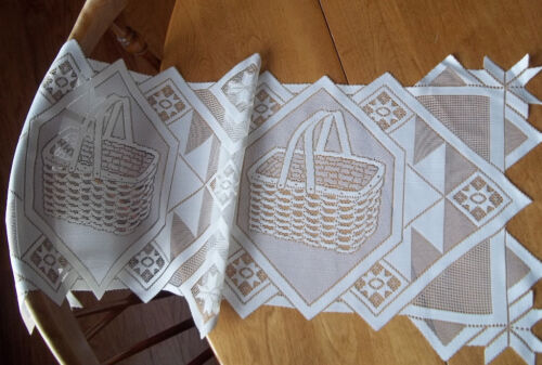 HERITAGE LACE WHITE SHEER DOUBLE BASKET RUNNER 14 X 36 ITEM #2005