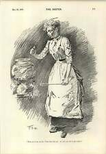 1894 Housemaid Cleaning Fish German Accent Joke Cartoon