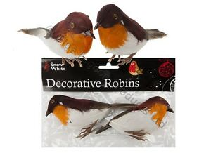 2x rouge gorge d coration c ble no l mod le artificiel for Oiseaux artificiels de decoration