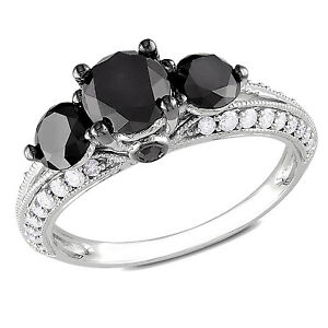 Amour 10k White Gold 2 Ct TDW Round Cut Three Stone Black Diamond Ring G-H I2-I3