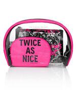 Victoria's Secret Set Of 3 Cosmetic Makeup Beauty Bags Black Lace & Pink