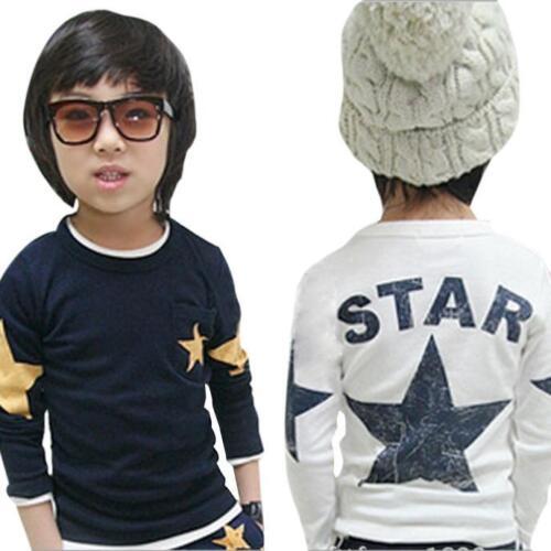 Unisex Infant Toddler Kids Baby Boy Blouse Casual Loose Cotton Print T-shirt Top