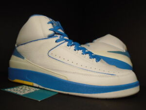 2fe4d055bc4 2004 NIKE AIR JORDAN II 2 RETRO CARMELO MELO WHITE BLUE YELLOW ...