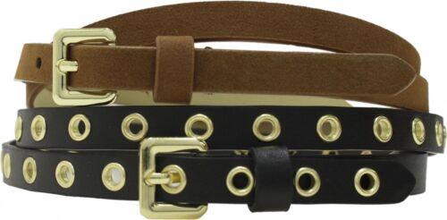 "Mossimo WomensTwo Pack Skinny Belt 0.5/"" Width Rivet Black /& Solid Brown"