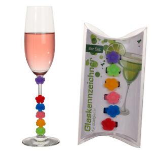 6-tlg-Glasmarkierer-Glas-Glaeser-Glasmarker-Blume-Glasmarkierungen-fuer-die-Party