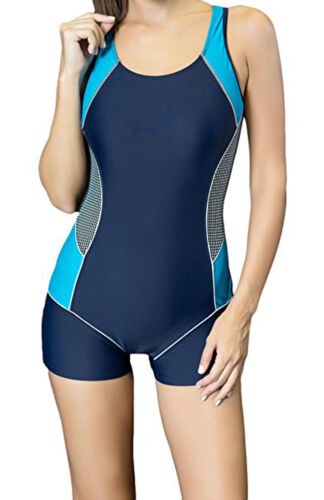 Damen Strand Badeanzug Farbblock Sportbadeanzug Racerback Boy Leg Bademode
