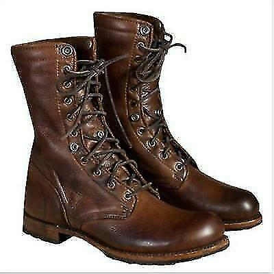Mens Punk Cowboy Leather Boots Military Motorcycle Outdoor Lace Up Shoes