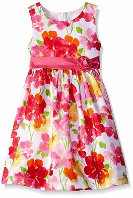 Girl Size 2T 3T 4T AMERICAN PRINCESS White Pink Floral Formal Shantung Dress NWT