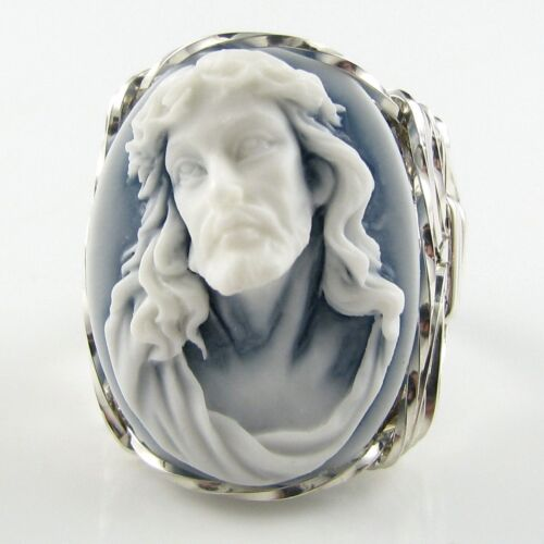 Crown Of Thorns Cameo Ring .925 Sterling Silver Jewelry Any Size White Resin
