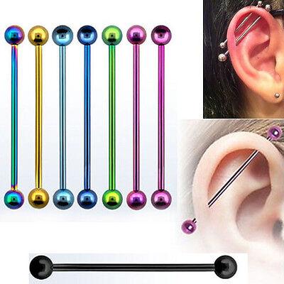 Pair of Steel Straight Industrial Barbell Ear Body Piercing w//Cones 14G