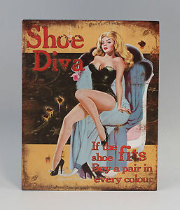 9973219-Plaque-de-Publicite-Panneau-Metallique-Pin-Up-034-Shoe-Diva-Vintage-Retro
