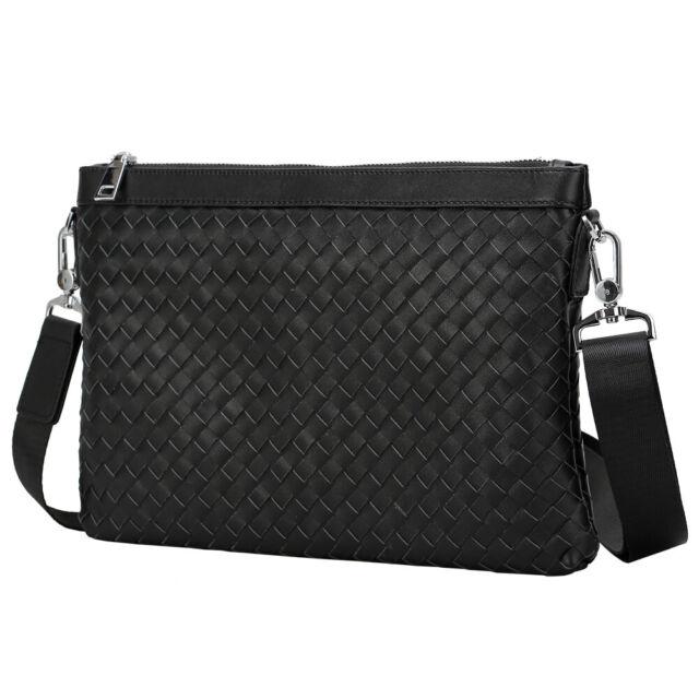 Black Real Leather Men's Messenger Shoulder Bag Clutch Bag Pouch Wallet Handbag