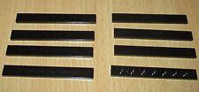 Lego 8x Fliesen Platten 1 x 8 in Schwarz