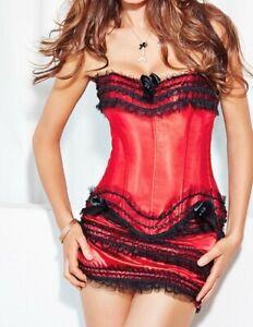 NEW-Adore-Me-3-Piece-Lingerie-Set-Fully-Boned-Corset-Thong-Panties-amp-Skirt-2x
