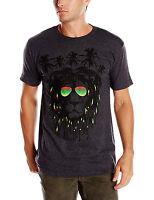 Men's Rasta Rastafarian Lion Palm Trees Short Sleeve Graphic T-shirt Charcoal He