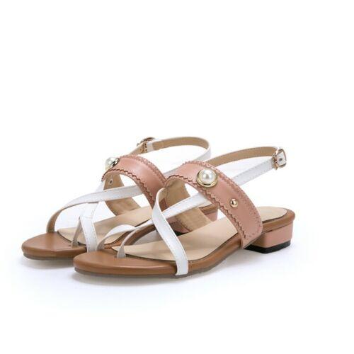 Summer Women Pearl Decor Slingback Low Cuban Heel Clip Toe Thong Casual Sandals