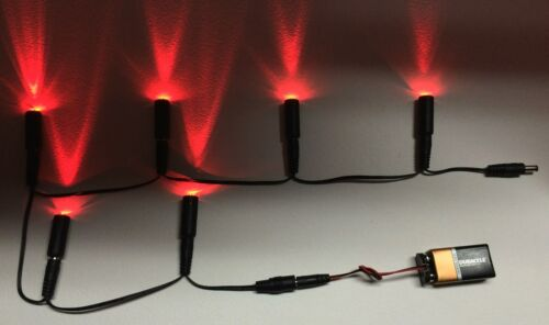 6 LED lights Daisy Chain 6 Red w// 9 volt battery clip Micro Effects Scenery MEL