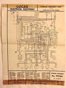 Daimler Century 1954 Cars Original Lucas Wiring Diagram ...