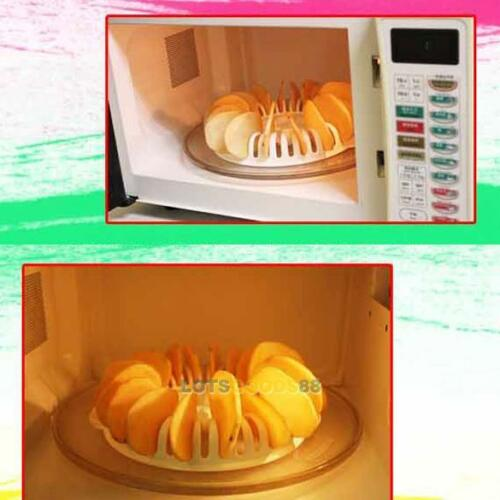 Home Kitchen Microwave Oven Apple Potato Crisp Chip Slicer DIY Maker Rack Tool#L