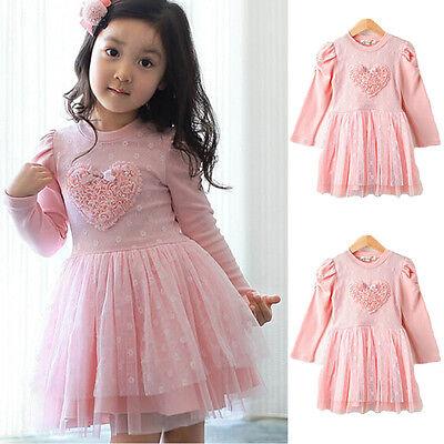 2-7Years Toddler Kids Girls Dress 3D Heart Tulle Tutu Long-Sleeved Dress Pink
