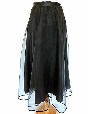Vtg NEXT BLACK ORGANZA FLARED SKIRT 50s ROCKABILLY Swing ROCK n ROLL GOODWOOD 8