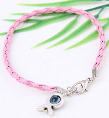 "10Pcs Mixed HAMSA HAND ""Evil Eye""String Bracelets Lucky Charms Pendant Leather"