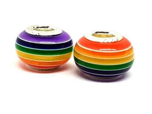 Grano De Rastas Cabello Arco Iris Orgullo Gay 13 Mm x 9 mm//5 mm hole x 2 granos