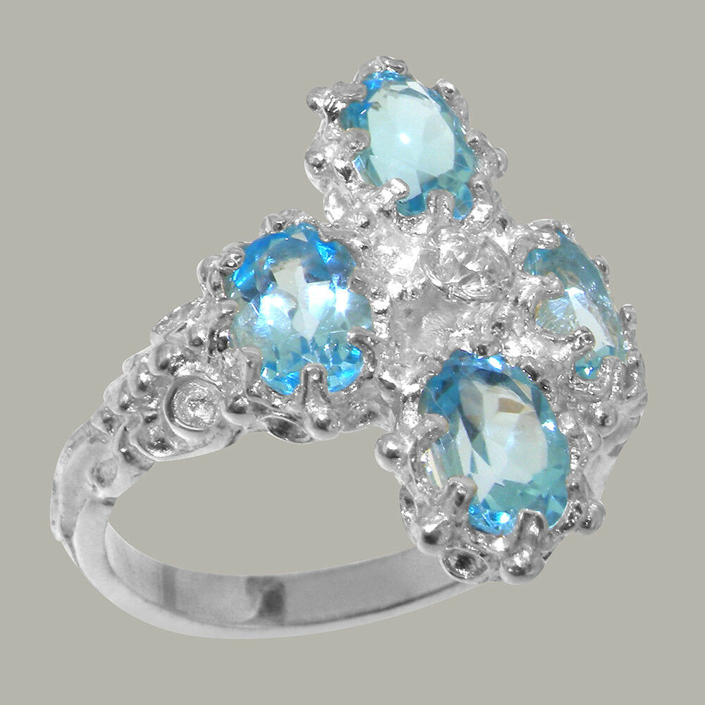 18ct 750 White gold Natural Diamond & bluee Topaz Womens Cluster Ring