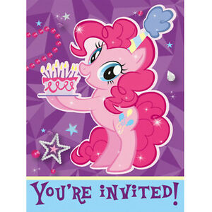 Details About MY LITTLE PONY Pinkie Pie INVITATIONS 8 Birthday Party Supplies Stationery
