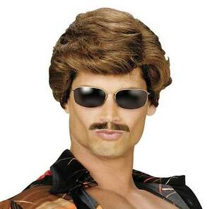 MENS-70s-COP-PORN-STAR-VALENTINES-PARTY-GIGALO-FANCY-DRESS-COSTUME-BROWN-WIG
