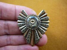 (Z18-51) black gold starburst textured Czech glass button flower pin brooch
