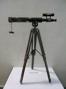DESKTOP DOUBLE BARREL BRASS TELESCOPE WITH STAND COLLECTIBLE NAUTICAL GIFT