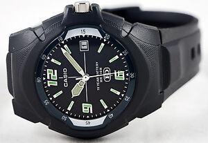 Casio-MW-600F-1AV-Black-Analog-Glow-Watch-10-Year-Battery-Date-Display-Sport-New