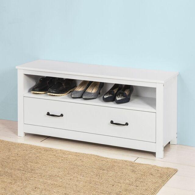 Sobuy Banc De Rangement Commode à Chaussures Meuble Dentrée Blanc