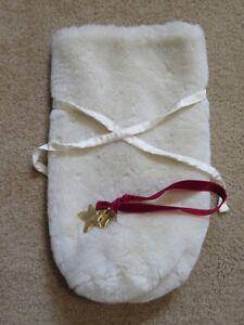 32b8a0eaca Pottery Barn Christmas White Faux Fur Wine Bottle Holder Gift Bag + ...