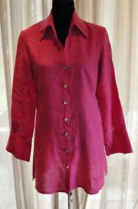 Anne-Fontaine-Hot-pink-LINEN-long-length-shirt-40-UK-12-14