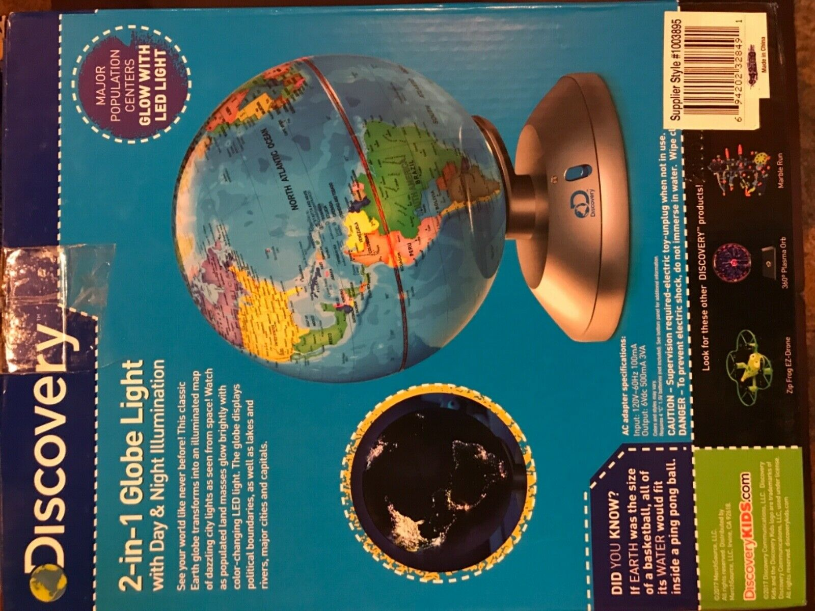 New Discovery 2-in-1 Globe Light Day /& Night Illumination in Open Box