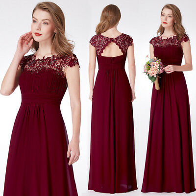 Ever Pretty Cap Sleeve Bridesmaid Dresses Lace Burgundy Evening Ball Gown 09993 | eBay