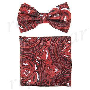 New-Men-039-s-Pre-tied-Bow-Tie-amp-hankie-set-paisley-floral-red-black-formal-wedding