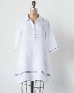 Creative-Co-Op-Linen-Kate-Tunic-Black-With-White-Stitching-Size-L-NWT