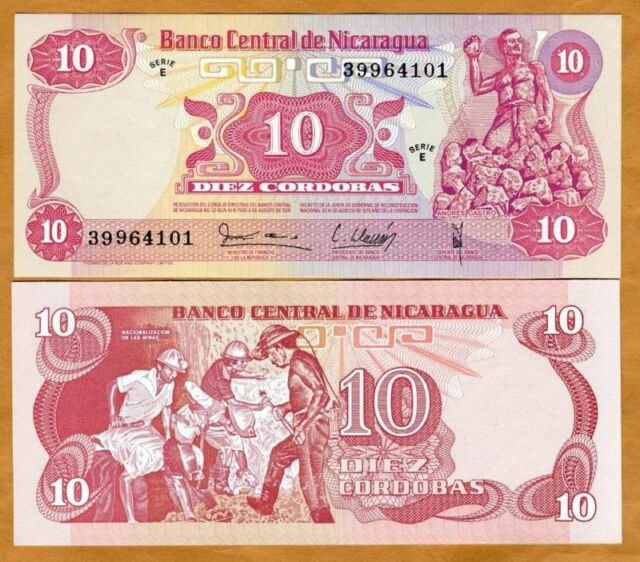 Andrés Castro 10 Cordobas Nicaragua P134 miners in mine $4 CV UNC see UV