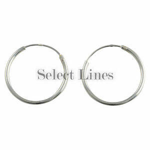 abb5bf63a Sterling Silver 1.2mm x 18mm Endless Hoop Earrings Round .925 ...